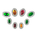 Picture of Multi Double Oval Gems - Festive Set - 9x14mm & 13x18mm (8 pcs) (AG-MDO2)