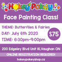 Picture of One Stroke Face Painting Beginner Class - Butterflies & Fairies - July 6th, 2020