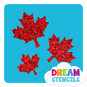 Picture of Cascading Maple Leaves Glitter Tattoo Stencil - HP (5pc pack)