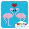 Picture of Kissing Flamingos Glitter Tattoo Stencil - HP-58 (5pc pack)