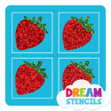 Picture of Mini 4 in 1 Strawberry Glitter Tattoo Stencil - HP-78 (5pc pack)