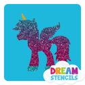 Picture of Unicorn Pegasus Glitter Tattoo Stencil - HP (5pc pack)