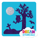 Picture of Spooky Graveyard With Owl Glitter Tattoo Stencil - HP-166 (5pc pack)