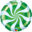 "Picture of 18"" Round Green Candy Swirl Foil Balloon (1pc)"