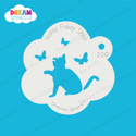 Picture of Sitting Cat With Butterflies  - Dream Stencil - 220