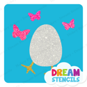 Picture of Easter Egg with Butterflies Glitter Tattoo Stencil - HP-232  (5pc pack)